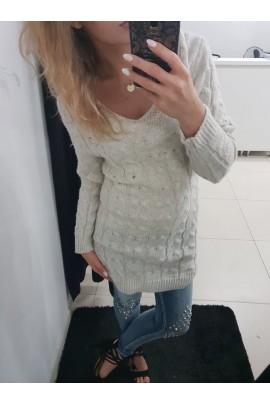 Sweter beżowy długi