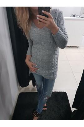 Sweter szary długi