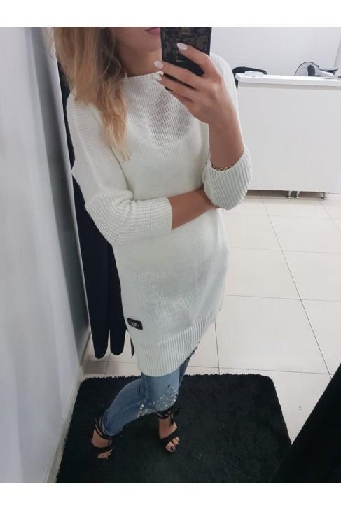 Sweter ecru długi