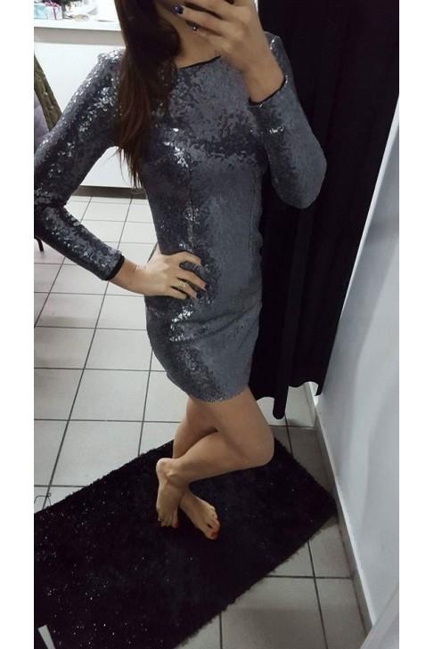 Sukienka cekiny RIO szara