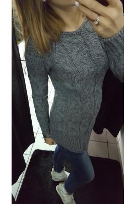 Asymetryczny sweter siwy