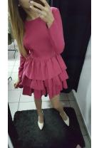 Fuksjowa sukienka z falbanami FIONA