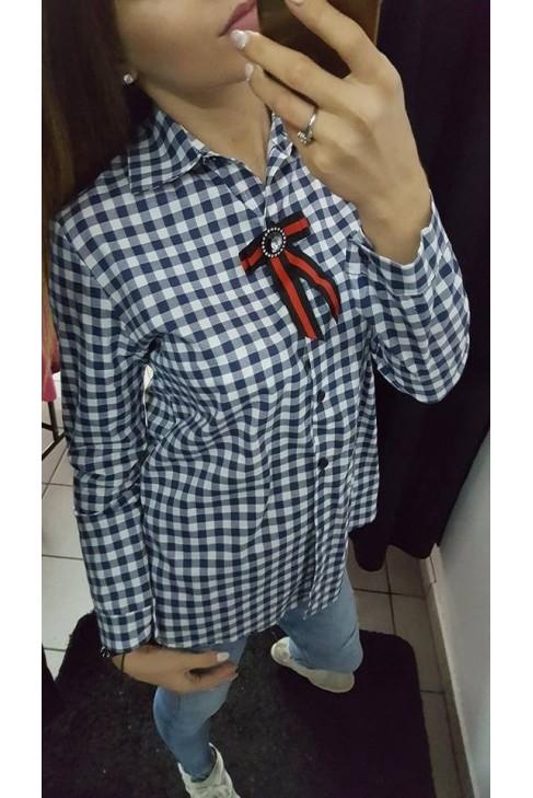 Koszula w kratę z kokardą 0560