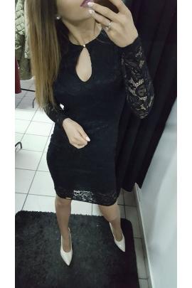 Czarna sukienka koronka łezka