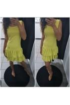 Zamszowa sukienka z falbanami 5374