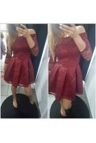 Sukienka koronkowa bordo OPIUM