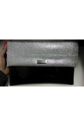 Elegancka kopertówka czarna srebrny brokat