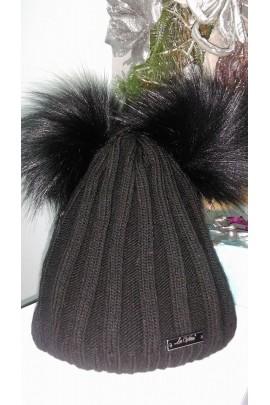 Zimowa czapka z dwoma pomponami 4419