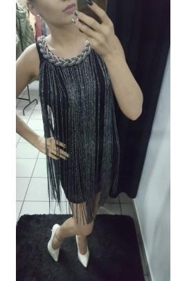 Sukienka srebrne paski