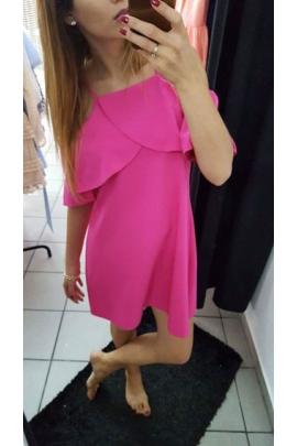 Sukienka z falbanką fuksja