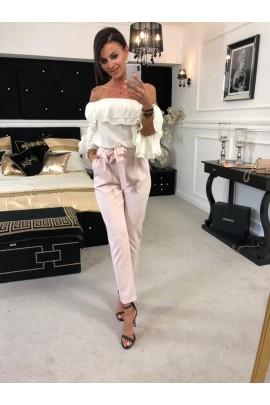 Eleganckie, różowe spodnie wiązane w pasie. Rozmiar S