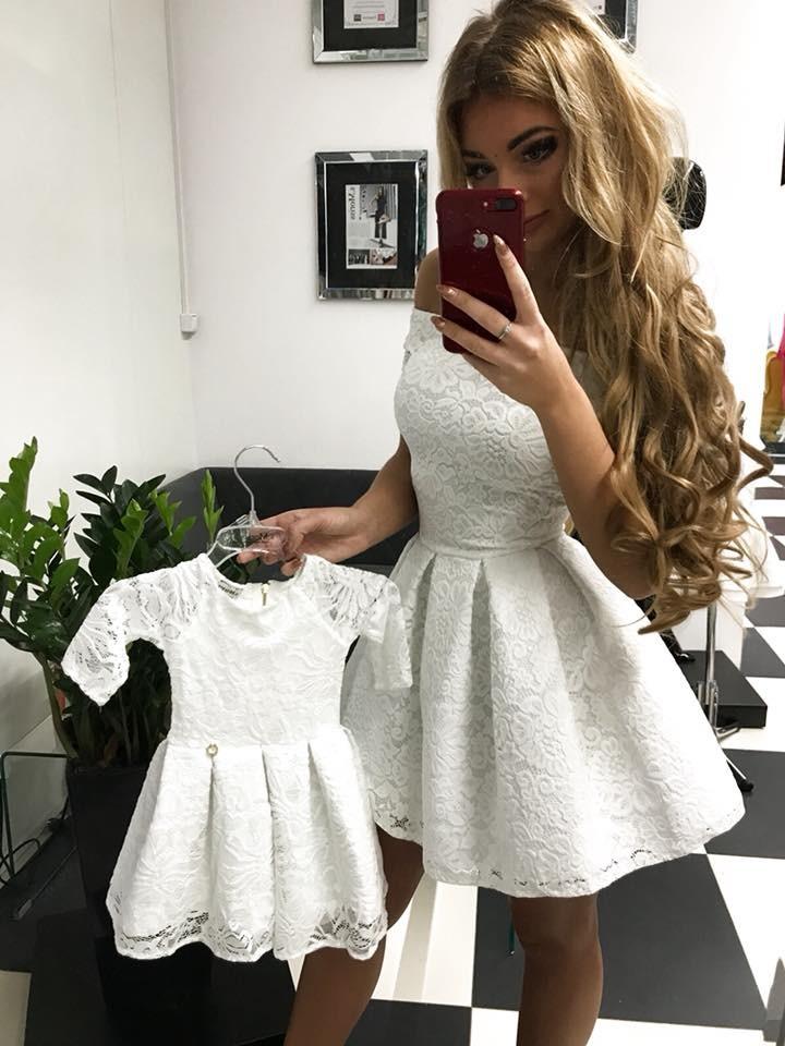 66eb93a806c3a4 Komplet sukienek Scarlet mama córka ecru - MarySue