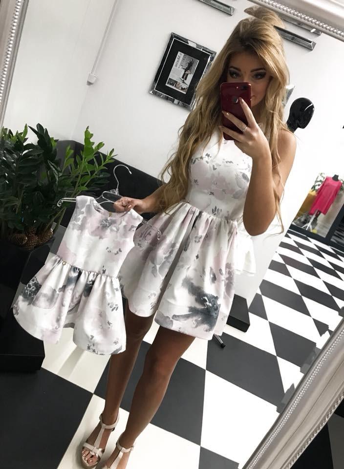 c80e43748f0ea9 Komplet sukienek Peonia mama córka szare kwiaty - MarySue