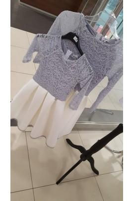 1805322a0c Komplet sukienek Śnieżka mama córka szary