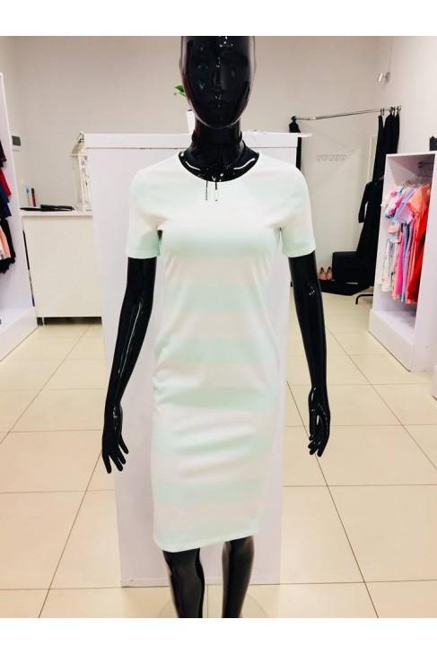 Sukienka miętowo-białe pasy